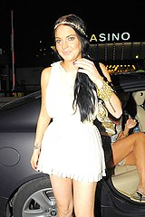 Lindsey Lohan in short dress